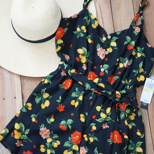 As U Wish Floral & Lemons Print Button Up Romper